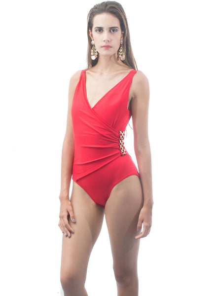 Red Wrap Swimsuit with Gold Buckle