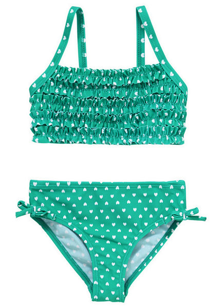 Heart Print Frill Bikini Set (Size 5-6yrs Only)
