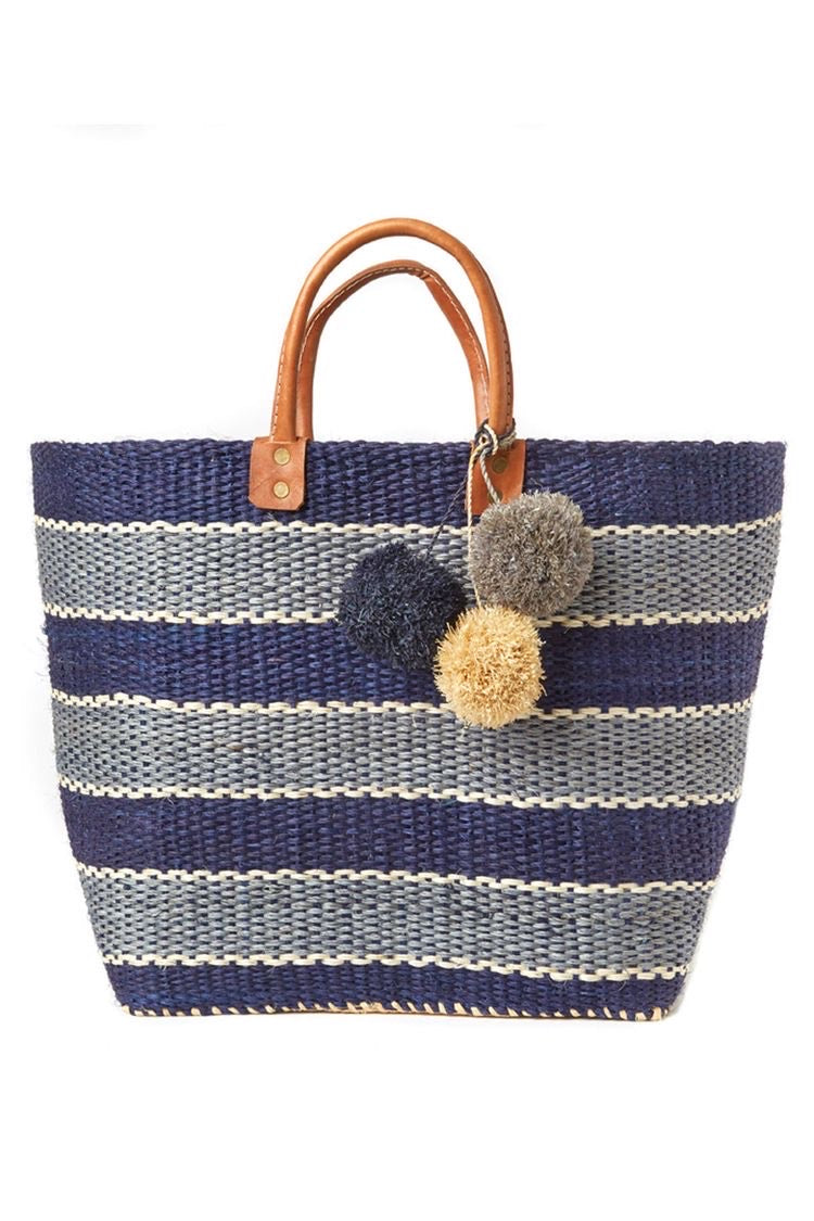 Navy & Grey Stripe Pompom Tote