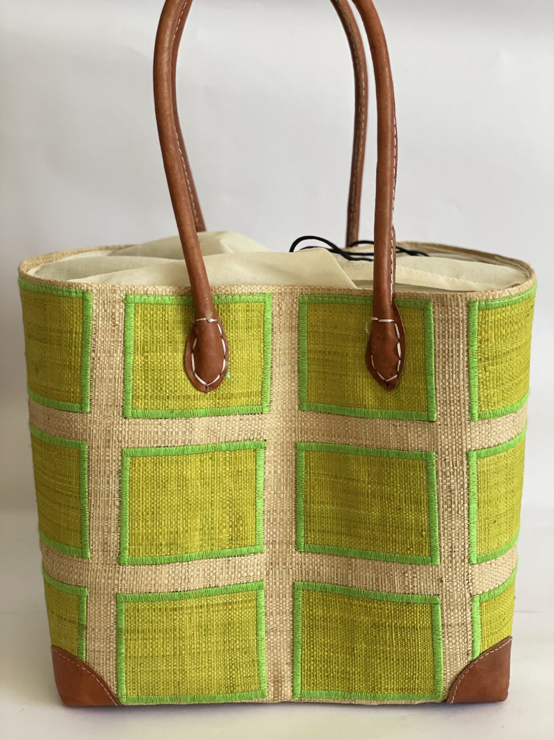 Lime Checked Tote