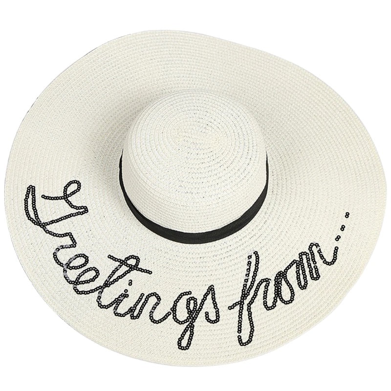 """Greetings From"" Sequins Embellished Hat"