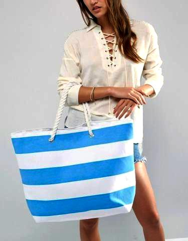 Striped Canvas Beach Bag