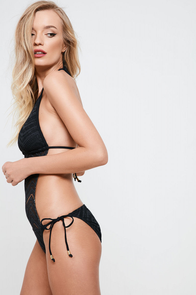 Black Chevron Lace High Neck Swimsuit (UK10 Only)