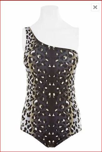 Animal Print One Shoulder Swimsuit (Size UK8 Only)