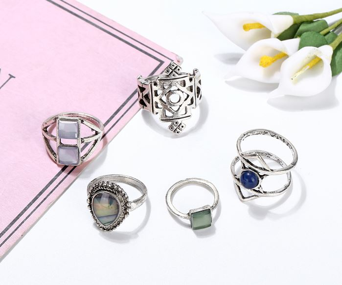 Aqua Geometric Midi Ring Set