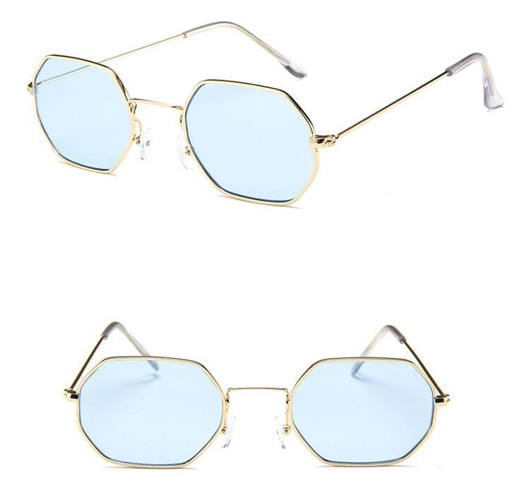 Blue Hexagon Retro Sunglasses