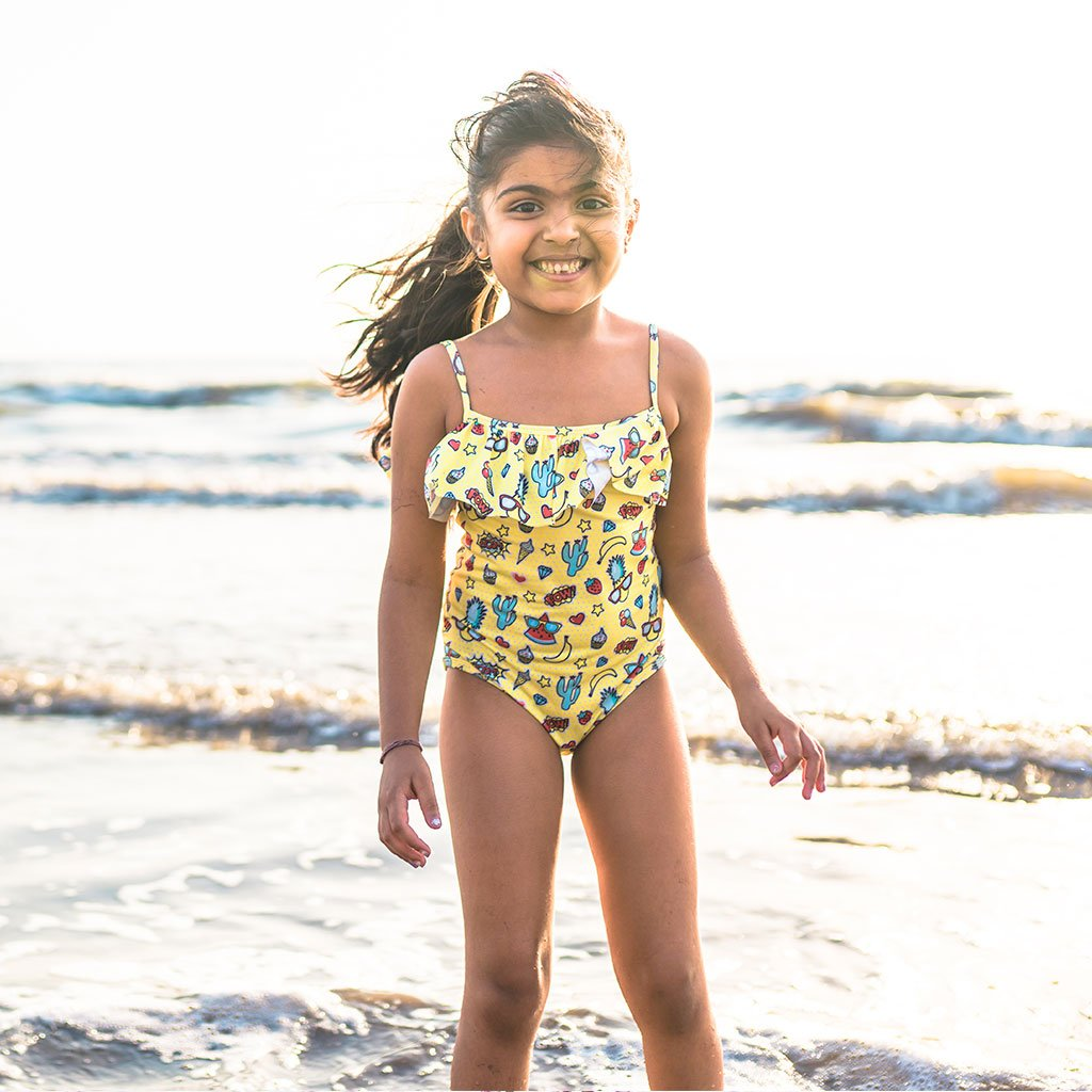 Cool Yellows Girls Swimsuit
