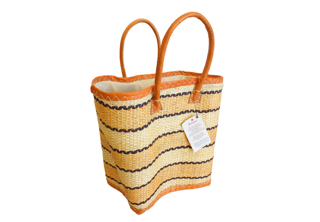 Black & Beige Stripes Tote