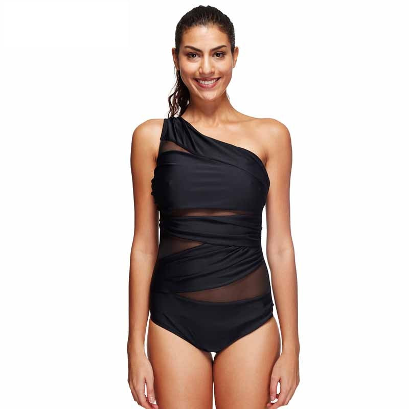 Black Mesh Cut Out Ruched Swimsuit
