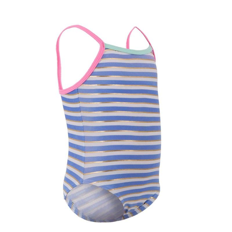 Gold striped girls one-piece swimsuit