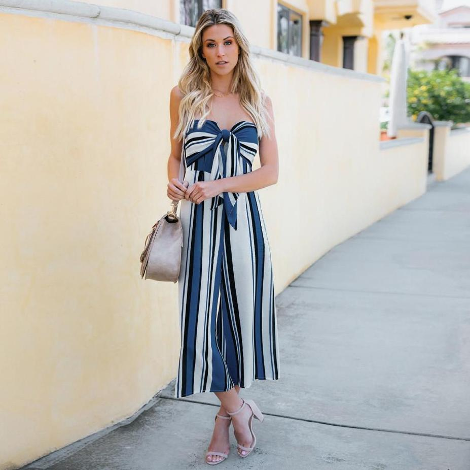Bow Knot Striped Jumpsuit