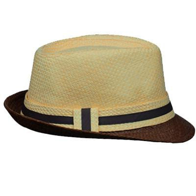 Color Block Fedora - Brown