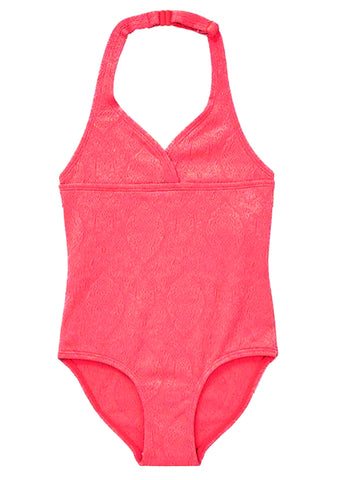 Neon Coral Jacquard Swimsuit