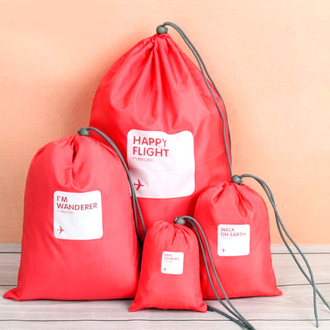 Waterproof Travel Bags Set Of 4 (Coral)