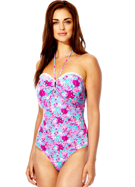 Crochet Trim Floral Swimsuit