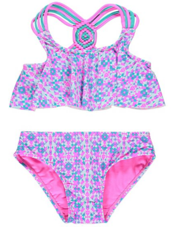 Printed Kaleidoscope Weave Back Bikini Set