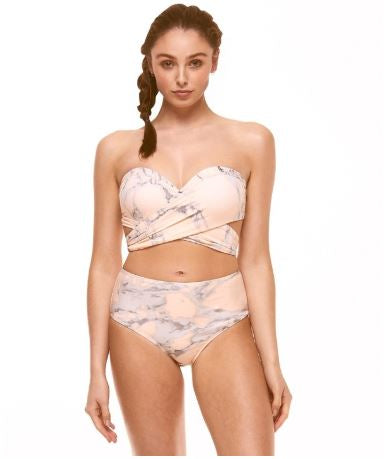 Marble Print Wrap Multi Way High Waist Bikini Set