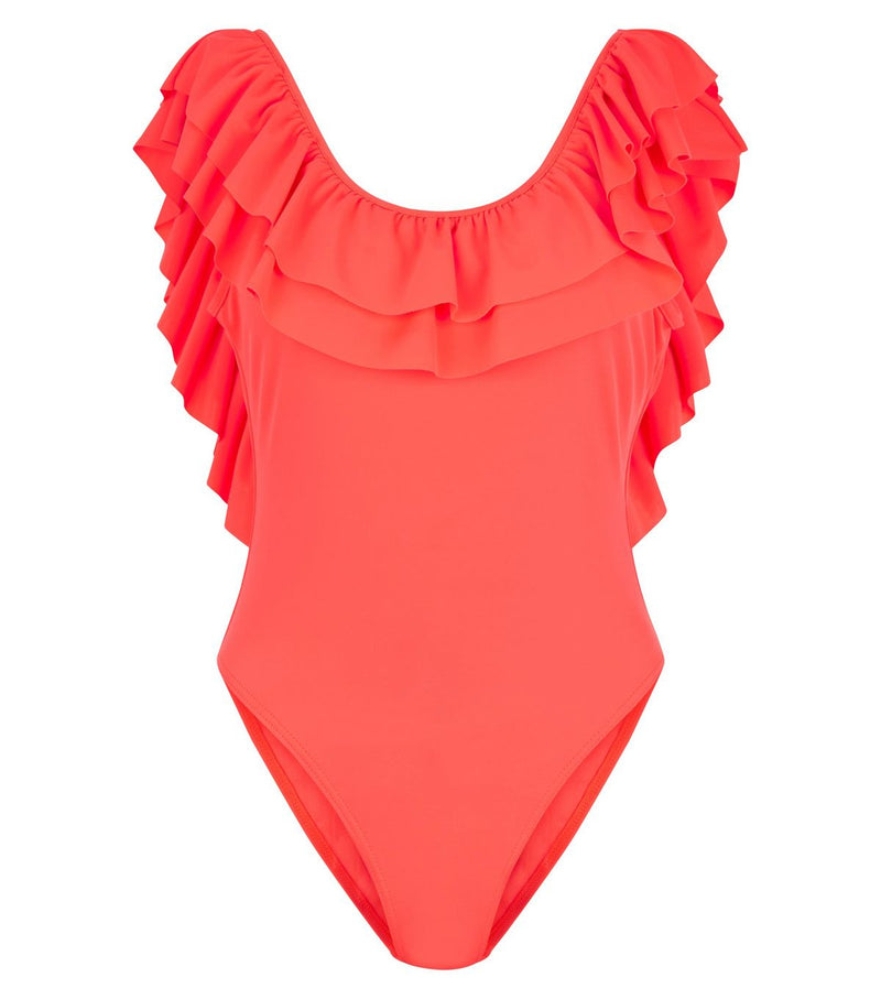 Neon Frill Trim Plunge Back Swimsuit (Non-Padded)