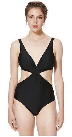 Black Cut-Out Wrap Swimsuit (UK 14 Only)