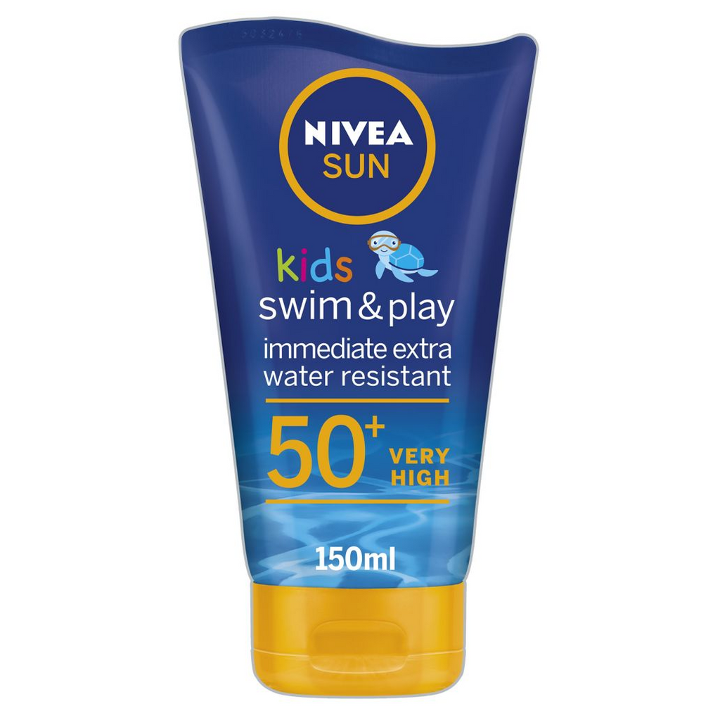NIVEA SUN Kids Suncream Lotion Extra Water Resistant SPF 50+, Swim & Play, 150 ml