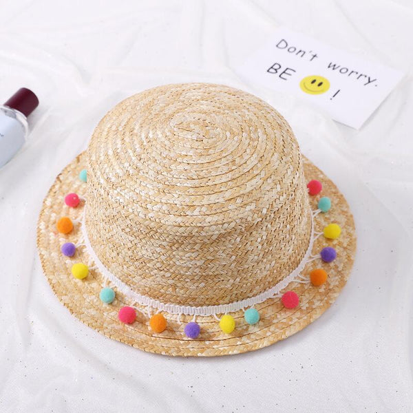 Colorful Pom Pom Lace Beach Hat