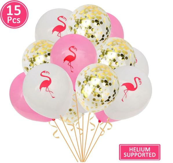 Flamingo Confetti Latex Balloons (Pack of 15)