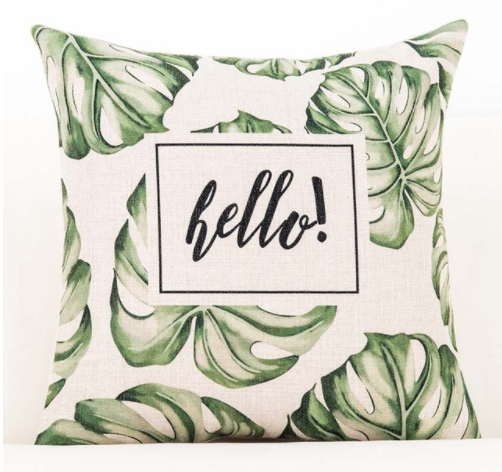 Tropical 'Hello' Cushion Covers (Set Of 2)
