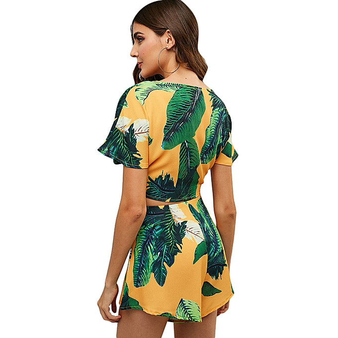 Leaf Print Knot Top and Shorts Set
