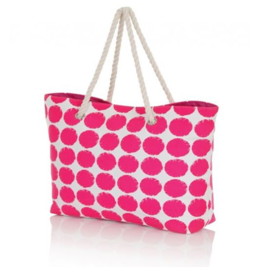 Neon Polka Dot Canvas Beach Bag