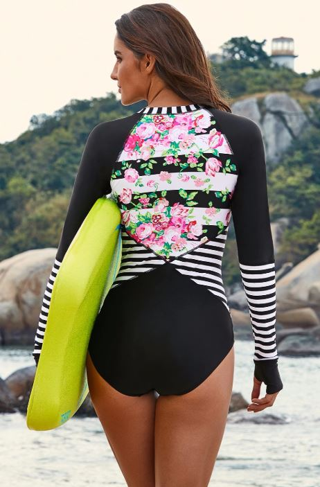 Floral Striped Zipper Swimsuit