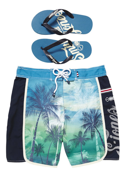 Palm Print Swim Shorts and Flip Flops Set (Size XLarge Only)