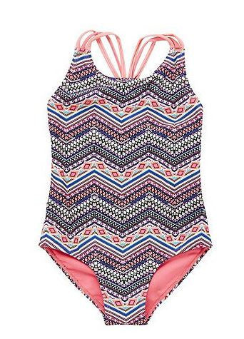 Neon Aztec Print Plaited Strap Swimsuit