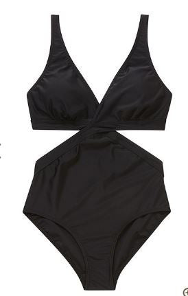 Black Cut-Out Wrap Swimsuit