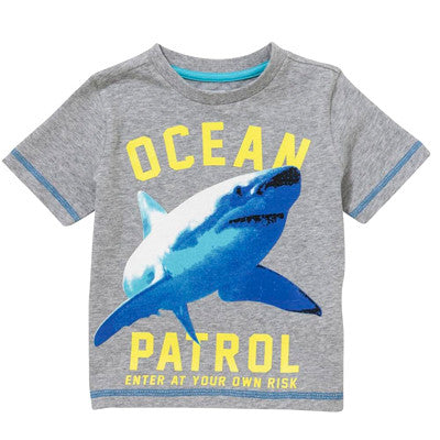Grey Shark Print T-Shirt
