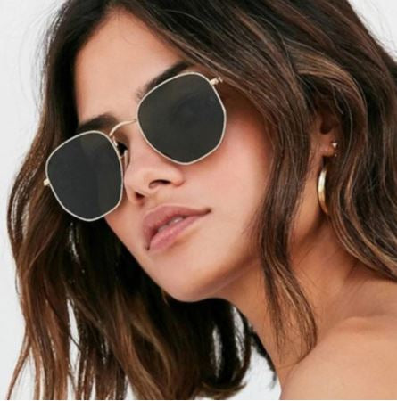 Gold Hexagon Retro Sunglasses