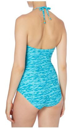 Turquoise Animal Print Bandeau Swimsuit