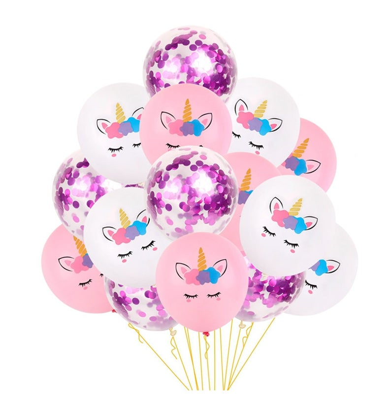 Magical Unicorn Confetti Latex Balloons (Pack of 15)