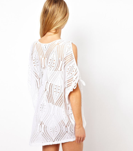Cut Out Shoulder Cover Up - White
