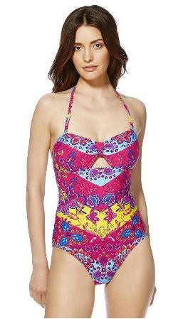 Floral Tile Print Cut-Out Bandeau Swimsuit
