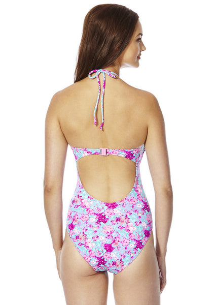 Crochet Trim Floral Swimsuit (Size UK12 Only)