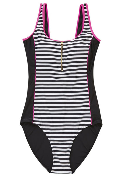 Zip Detail Striped Swimsuit (UK8 Only)