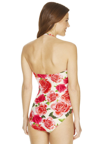 Ruffle Trim Rose Print Bandeau Swimsuit (Size UK8 Only)