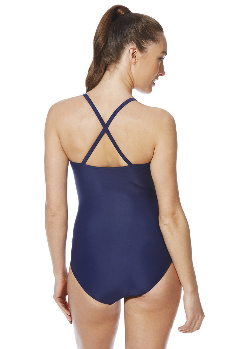 Active Print Panel Cross-Back Swimsuit
