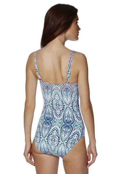 Magic Paisley Print Ruched Front Swimsuit (Size UK 8 Only)