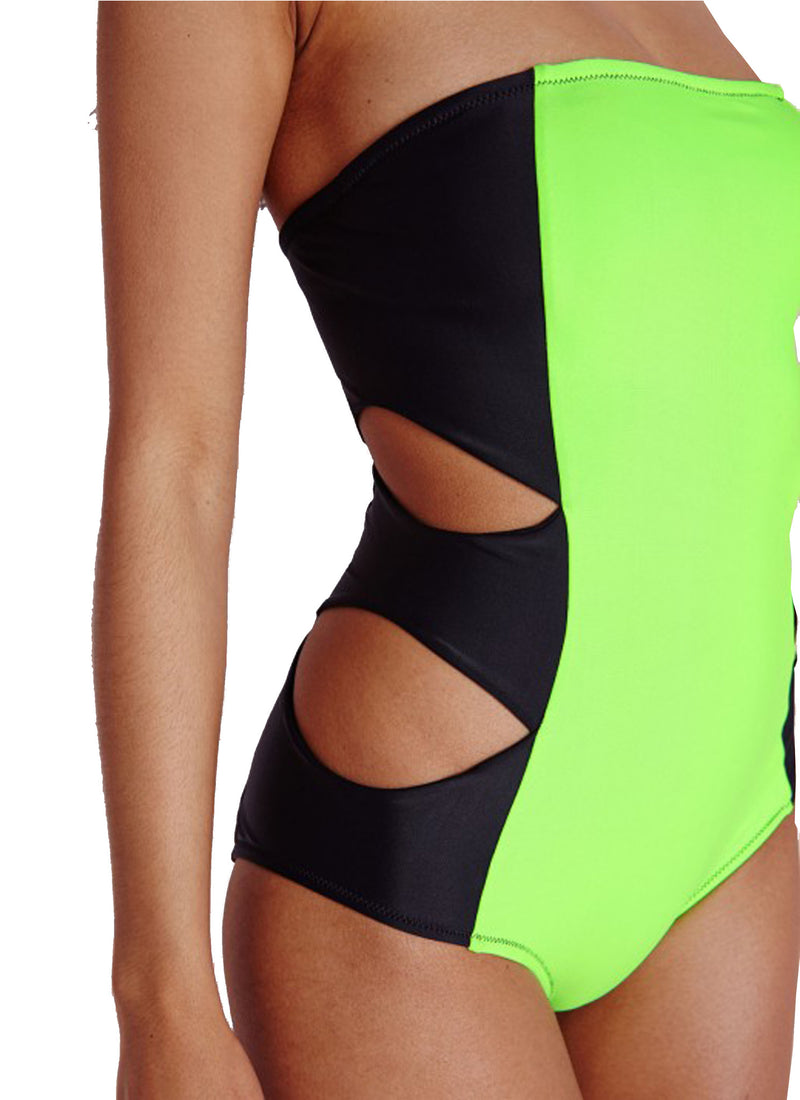 Lime Cut Out Swimsuit