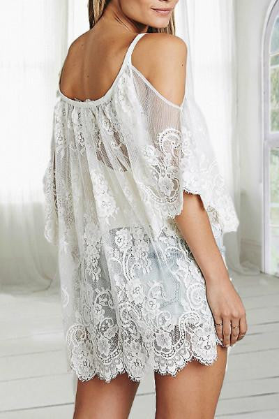 Cold Shoulder Crochet Cover Up