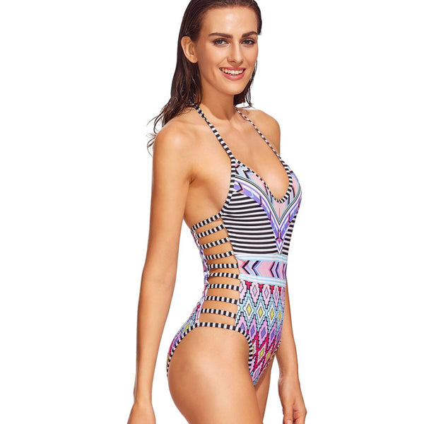 Moroccan Halter Neck Swimsuit