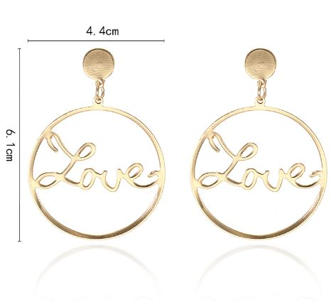 Gold 'Love' Hoop Earrings