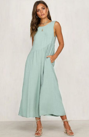 Aqua Wide Leg Jumpsuit