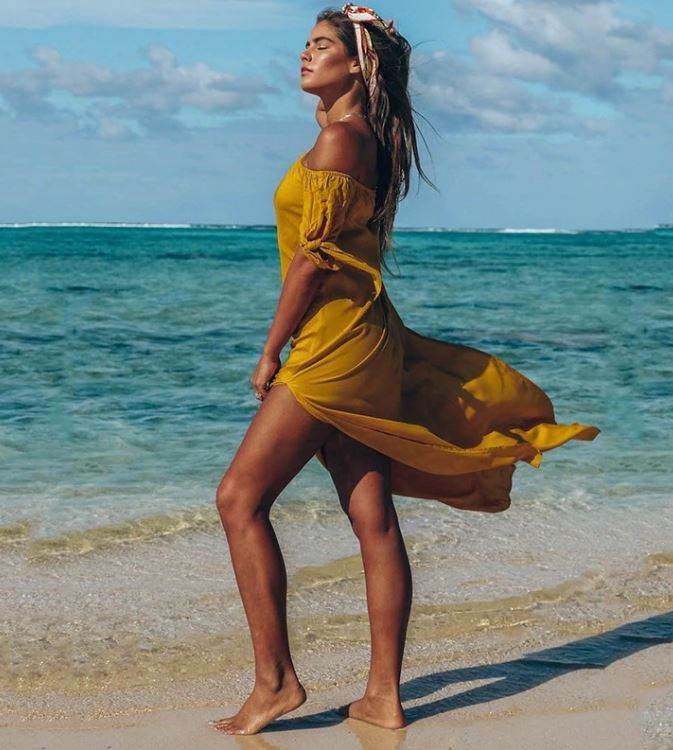 Mustard Off Shoulder Slit Maxi